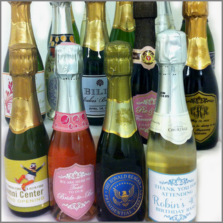 Custom Labeled Mini Champagne Bottles